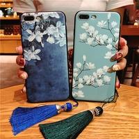 Retro Chinese style case OPPO R15 Dream R17 R11S R11 R9S R9 Plus Magnolia tassel Relief cover