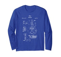 Electric Bass Guitar Vintage Musician Ro Electric Vintage Bass Guitar Long Sleeve Shirt - Musician