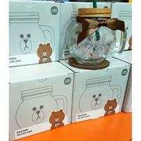 韓國代購 Line friends 熊大 玻璃杯 玻璃瓶 玻璃罐 500ml 正版品