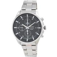 SEIKO 手錶 SNDC81P1 精工表 黑面夜光 日期 三眼計時 鋼帶 男錶