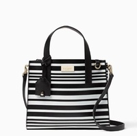 Kate Spade Women's Annisa Putnam Drive Leather Tote Crossbody Sling Bag (Black White Stripes)