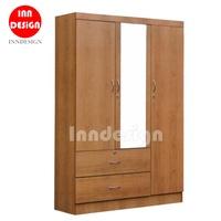 Cherry III 3 Doors Wardrobe / Standalone Wardrobe / Open Door Wardrobe with Mirror