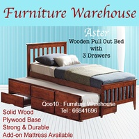 ASTER MIRA 3in1 Wooden Pull Out Bed with 3 Storage Drawers / Add on Mattress / Furniture Warehouse