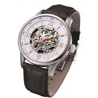 Brand New Arbutus AR613TRWB Watch (Branded). Mens Black Tie Skeleton Watch. Local SG Stock.