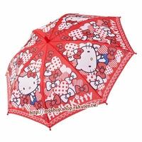 正版原裝 凱蒂貓 Hello Kitty 兒童雨傘 直傘-藍衣大紅款2種尺寸63/69cm/單售
