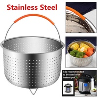 Stainless Steel Silicone Handle Steamer Basket For Instant Pot Accessories 8 Qt