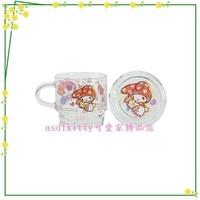 asdfkitty可愛家☆美樂蒂抱糖果透明玻璃有蓋馬克杯-香港版正版商品