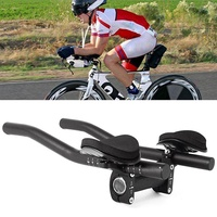Road Mountain Bike Bicycle Alloy Triathlon Aero Rest Handle Bar Clip On Tri Bars Black - intl