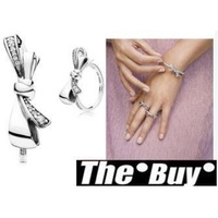 THEBUY-Pandora 潘朵拉 鑲鑽新款蝴蝶結戒指 925純銀 Charms 美國代購