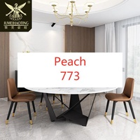 Peach-圓形餐桌家用簡約大理石圓桌工業風鐵藝圓餐桌帶轉盤家用吃飯桌子【Peach】