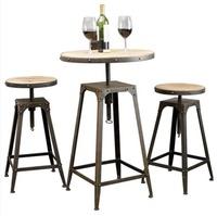 《Chair Empire》一桌二椅 Loft風 法國工業風 水管 茶几 鐵藝桌椅 做舊圓桌 旋轉吧椅 吧台桌