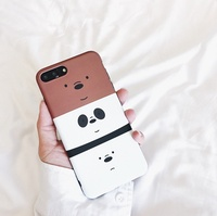We Bare Bears iPhone X Casing 6 / 6S / 7 / 8 Plus Grizzly Ice Bear Panda Protective Phone Back Case