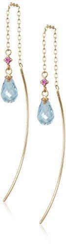 [iroiro] [VAVENDOME YAMADA] VA VENDOME AOYAMA K10YG blue topaz pink sapphire chain American Pierce (earrings) GJVA0170 BT
