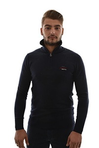 Direct from Germany -  Superdry marl mens Henley mainsail 1/4-zip in the Eclipse Navy