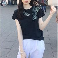 Bellee 正韓【6133】 樹葉圖騰圓領棉質上衣 (3色) 預購