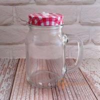【Daylight】現貨-600ml素面梅森瓶/梅森杯-附蓋(9個以上特價每個59) 方把杯
