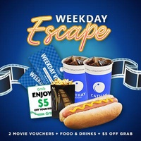 [Cathay Cineplexes] WEEKDAY Movie Package (2 Weekday Movie Vouchers + Food Voucher + Grab Voucher) Cinema/Promotion/Bundle Deal/Movie Ticket Voucher/F&B Voucher/Food Voucher/Movie Combo/Food Combo/Drinks Combo/Gift Voucher