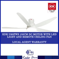 KDK U60FW DC MOTOR WITH LED LIGHT 9 SPEED WITH REMOTE CEILING FAN * LOCAL AGENT WARRANTY
