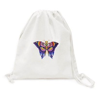 Traditional Chinese Kite Butterfly Pattern Canvas Drawstring Backpack Travel Shopping Bags - intl
