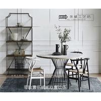 【精品家具】   北歐實木大圓桌美式圓餐桌椅工業風復古做舊鐵藝中式飯桌圓形桌子