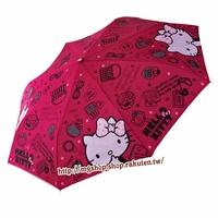 正版原裝 凱蒂貓 Hello Kitty 兒童雨傘 三折傘-玫紅化妝款