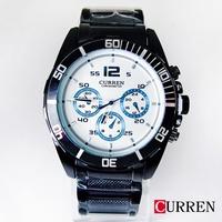 CURREN時尚潮流三眼造型格紋鋼帶錶8073