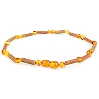 ▶$1 Shop Coupon◀  Amber & Hazelwood Necklace (Unisex, Cognac Color, 12.5 Inches), Lab-Tested, 100% C