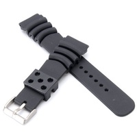 Replacement 20mm/22mm Black Divers Silicone Watch Band Strap Ocean Ripples for SEIKO