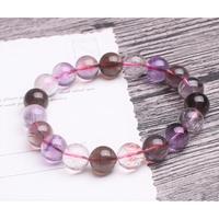 天然三輪骨幹紫髮晶單圈手鍊手串飾品禮物