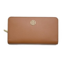 Tory Burch TORY BURCH / ROBINSON METALLIC HIDDEN ZIP CONTINENTAL long wallet wallet # 11149312 294 LUGGAGE GOLD New Year's first sale
