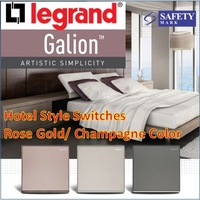 Legrand Galion Designer Switches and Socket/ Singapore Safety Marked/ Rose Gold/ Champagne Hotel Style Switches