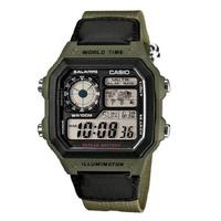 【CASIO】10年電力電子錶款 軍事風格 帆布錶帶AE-1200WHB-3B防水100米 宏崑時計 台灣卡西歐保固一年