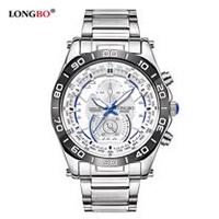 LONGBO夜光防水石英系列仿三指針男用運動手錶鋼帶款(白色)