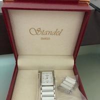 Standee SWISS 白 陶瓷 方 錶 寶島鐘錶 專櫃貨 二手 附盒