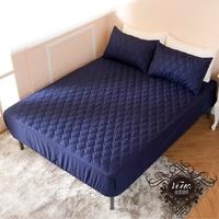 [滿額免運]透氣防潑水技術處理床包式保潔墊 單人|雙人|加大|特大|加高訂做(深藍色)[艾拉寢飾]