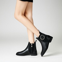 ZARA new shoes Block Heel Ankle Boots round buckle Flats and Booties