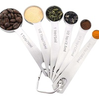 LingTud KOBWA Stainless Steel Measuring Spoons For Liquid And Dry - Set Great Baking For Of 6 Cooking Ingredients Helper