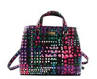 [KATE SPADE NEW YORK] Kate Spade Evangelie Laurel Way Dotty Plaid Shoulder Bag Purse Handbag, Black