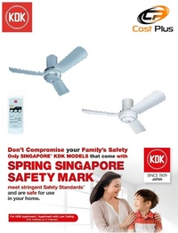 KDK Ceiling Fan R48SP. Wireless Remote Controller. 3 Speed control with Sleep mode.