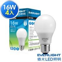 Everlight 億光-4入經濟組-16W 全電壓 LED燈泡(白/黃光)