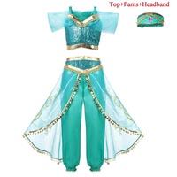 Girls Princess Jasmine Dress Halloween Clothes for Kids Aladdin's Lamp Children's Set Jasmine Top Pants Cosplay Costume