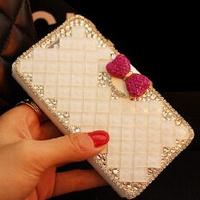 Luxurious Women Handmade Rhinestone Diamond Leather Wallet Flip Cover Case For  Samsung Galaxy J7 Plus