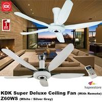 KDK Super Deluxe Ceiling Fan (With Remote) - Z60WS (White / Silver Grey) (1 Year Warranty)