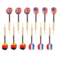 LingTud Cauang? 12 Pcs Stainless Steel Needle Tip Darts Four With Countries National Flag ,16cm