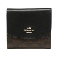 Coach F87589 Women's Short Wallet in Signature Coated Canvas (Brown/Black)