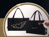 Japan agnes b emook flying hearts soft tote bag + bag charm