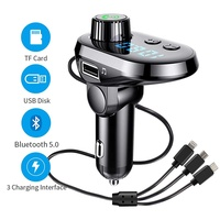 Bluetooth FM Transmitter Car Adapter, MANLI Car Charger MP3 Player, Bluetooth 5.0, with 3 Ports for iPhone, Android and Type C, 1 USB 5V/2.1A and TF Card Connection, Handsfree