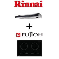 Rinnai RH-S309-GBR-T Slimline Hood With Touch Control + Fujioh FH-ID5120 65CM 2 Zone Induction Hob