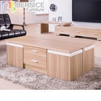 Bernice-法爾4.3尺北歐風大茶几(附收納椅凳)