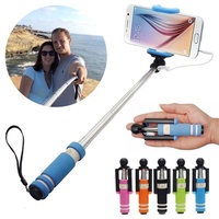 2018 Super Mini Monopod Handheld Fold Extendable Wired Selfie Monopod Self Sticker Cell Phones Self